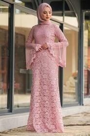 Tesettür Abiye Elbise - Dantelli Gül Kurusu Tesettür Abiye Elbise 2567GK - Thumbnail