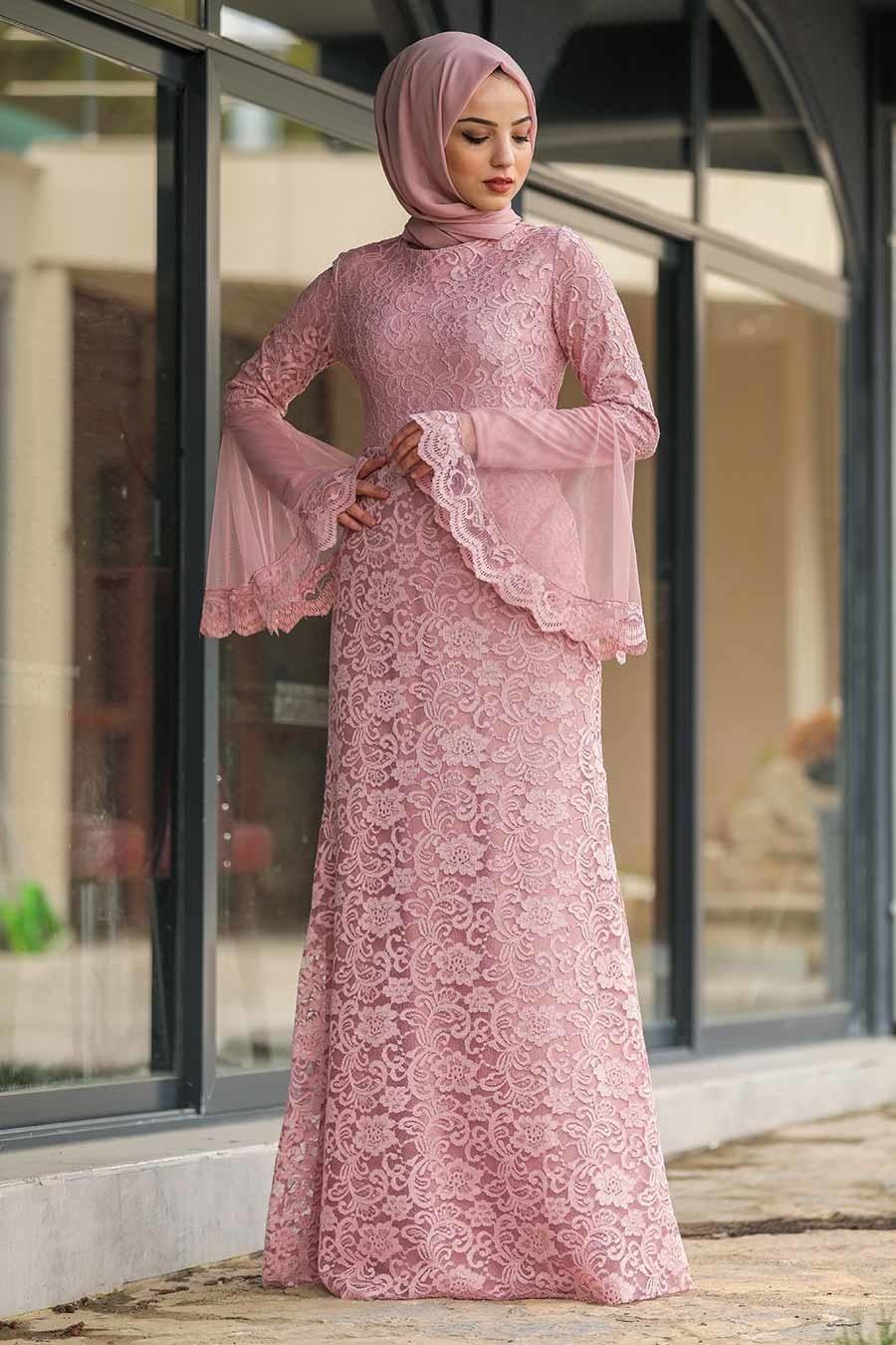 Tesettür Abiye Elbise - Dantelli Gül Kurusu Tesettür Abiye Elbise 2567GK