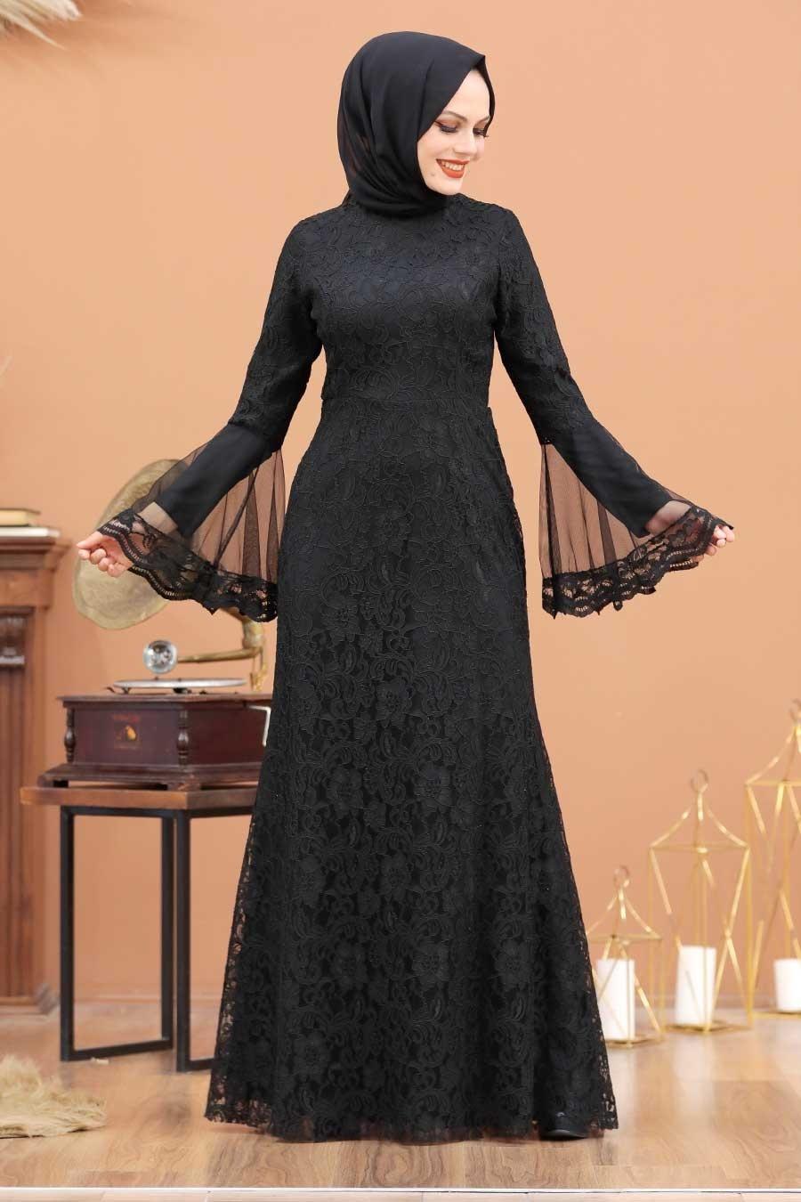 Tesettür Abiye Elbise - Dantelli Siyah Tesettür Abiye Elbise 2567S