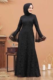 Tesettür Abiye Elbise - Dantelli Siyah Tesettür Abiye Elbise 2567S - Thumbnail