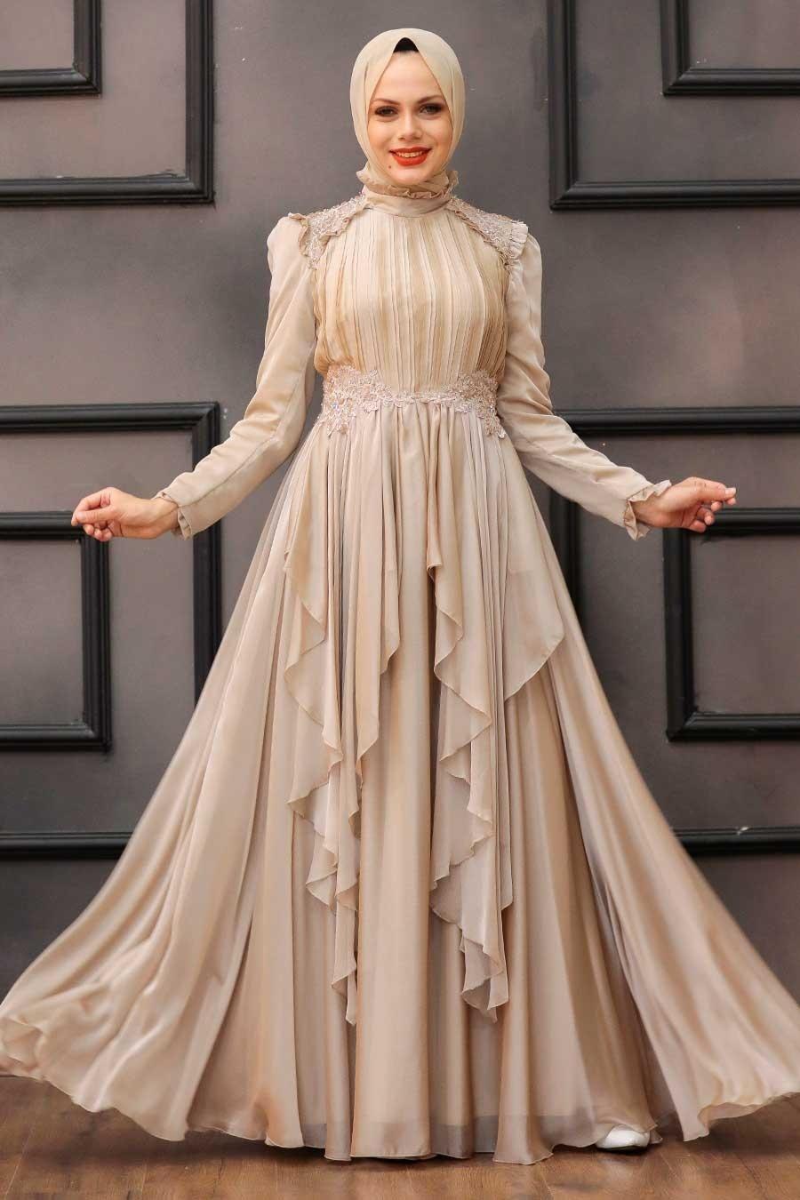 Tesettür Abiye Elbise - Fırfır Detaylı Bej Tesettür Abiye Elbise 21850BEJ