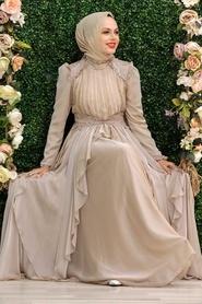 Tesettür Abiye Elbise - Fırfır Detaylı Bej Tesettür Abiye Elbise 21850BEJ - Thumbnail