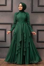 Tesettür Abiye Elbise - Fırfır Detaylı Yeşil Tesettür Abiye Elbise 21850Y - Thumbnail