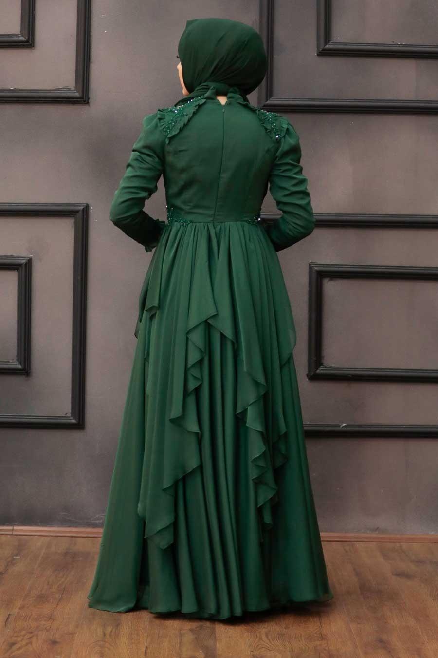 Tesettür Abiye Elbise - Fırfır Detaylı Yeşil Tesettür Abiye Elbise 21850Y