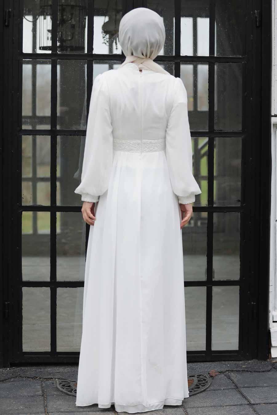 Tesettür Abiye Elbise - Pul Payetli Beyaz Tesettür Abiye Elbise 5408B