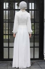 Tesettür Abiye Elbise - Pul Payetli Beyaz Tesettür Abiye Elbise 5408B - Thumbnail