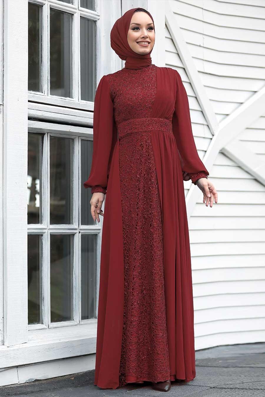Tesettür Abiye Elbise - Pul Payetli Bordo Tesettür Abiye Elbise 5408BR