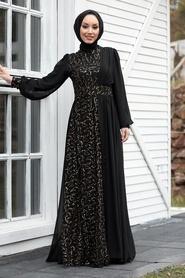 Tesettür Abiye Elbise - Pul Payetli Gold Tesettür Abiye Elbise 5408GOLD - Thumbnail