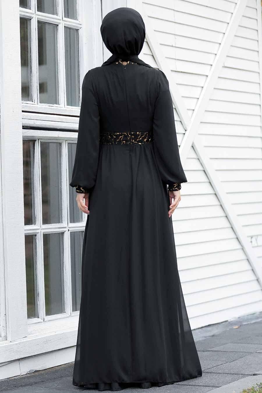 Tesettür Abiye Elbise - Pul Payetli Gold Tesettür Abiye Elbise 5408GOLD