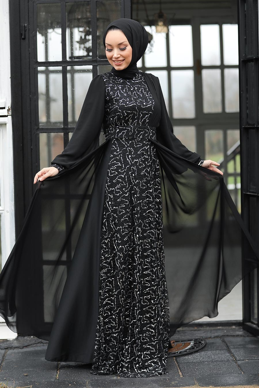 Tesettür Abiye Elbise - Pul Payetli Gümüş Tesettür Abiye Elbise 5408GMS