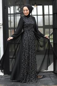 Tesettür Abiye Elbise - Pul Payetli Gümüş Tesettür Abiye Elbise 5408GMS - Thumbnail