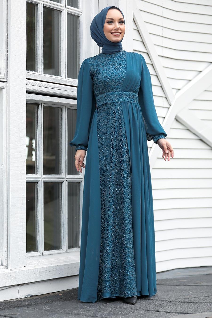 Tesettür Abiye Elbise - Pul Payetli İndigo Mavisi Tesettür Abiye Elbise 5408IM