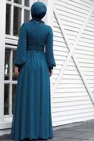 Tesettür Abiye Elbise - Pul Payetli İndigo Mavisi Tesettür Abiye Elbise 5408IM - Thumbnail