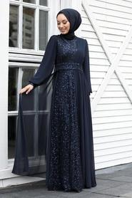Tesettür Abiye Elbise - Pul Payetli Lacivert Tesettür Abiye Elbise 5408L - Thumbnail