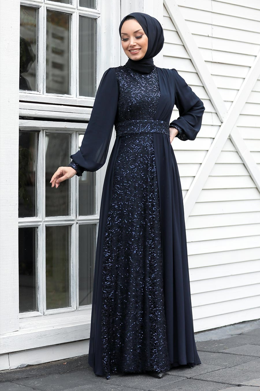 Tesettür Abiye Elbise - Pul Payetli Lacivert Tesettür Abiye Elbise 5408L