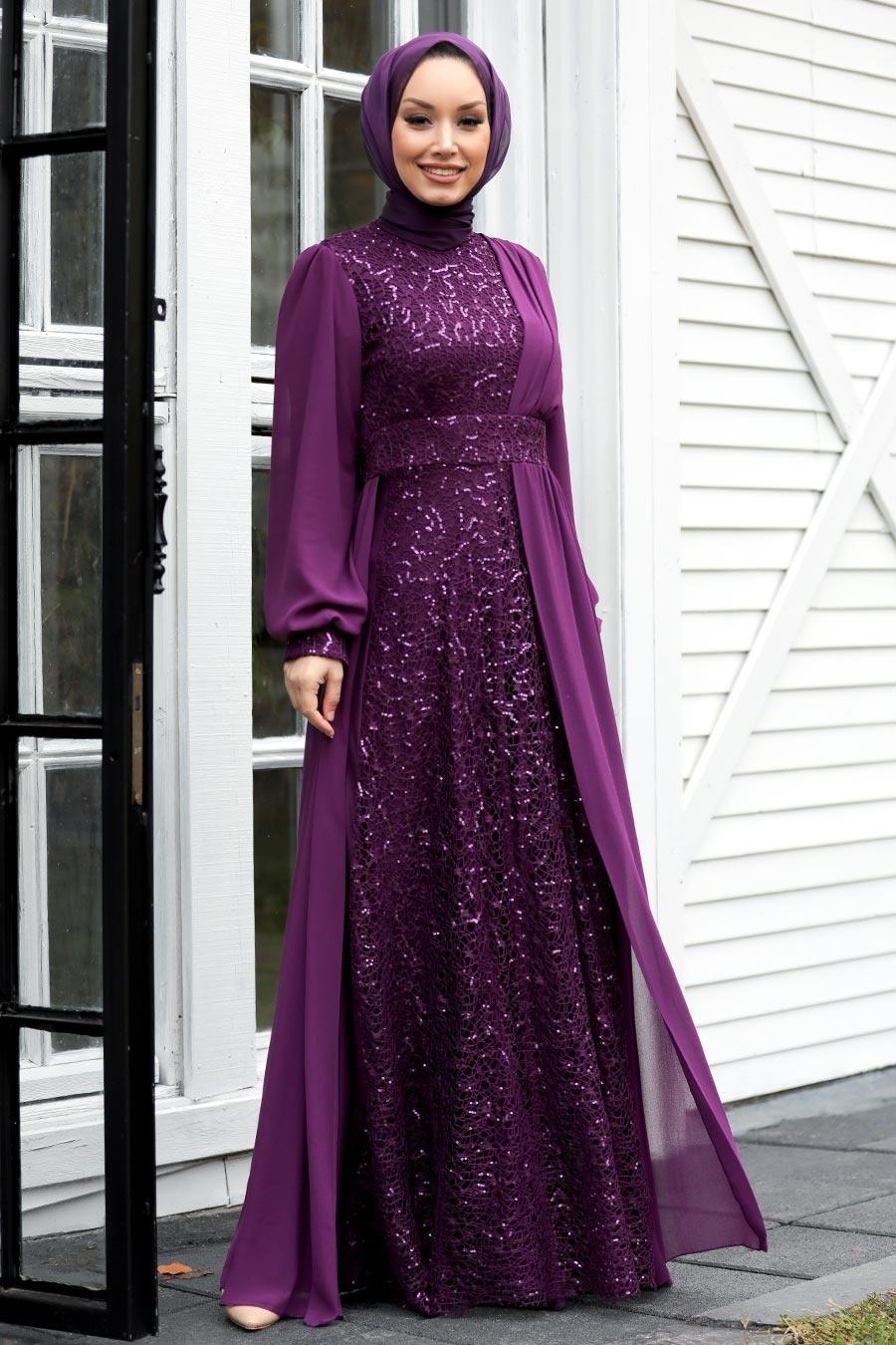 Tesettür Abiye Elbise - Pul Payetli Mürdüm Tesettür Abiye Elbise 5408MU