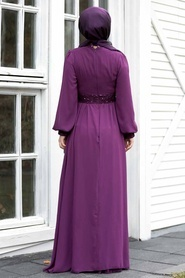 Tesettür Abiye Elbise - Pul Payetli Mürdüm Tesettür Abiye Elbise 5408MU - Thumbnail