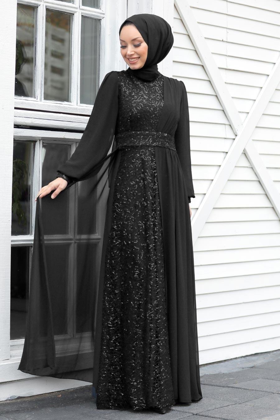 Tesettür Abiye Elbise - Pul Payetli Siyah Tesettür Abiye Elbise 5408S