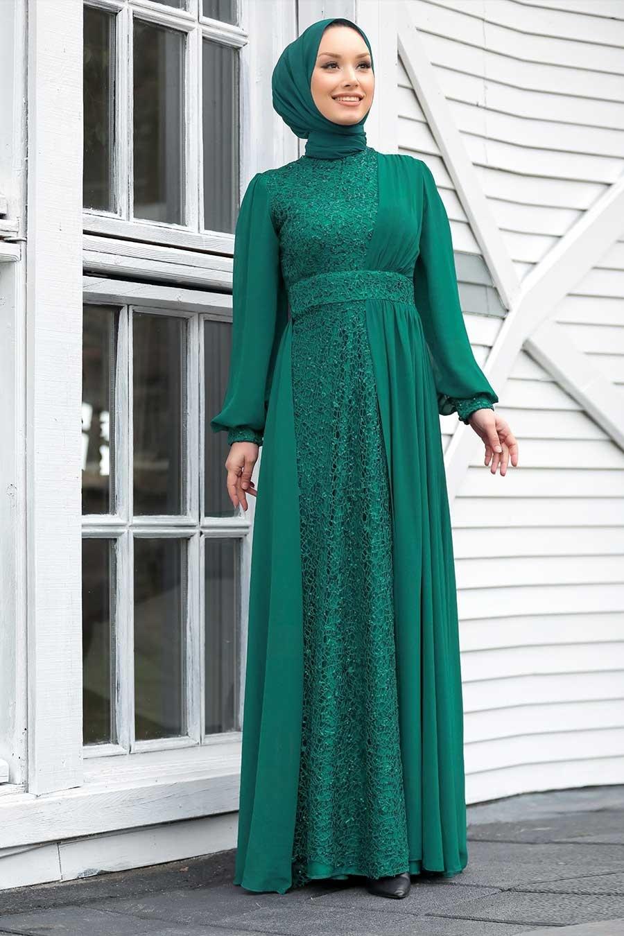 Tesettür Abiye Elbise - Pul Payetli Yeşil Tesettür Abiye Elbise 5408Y