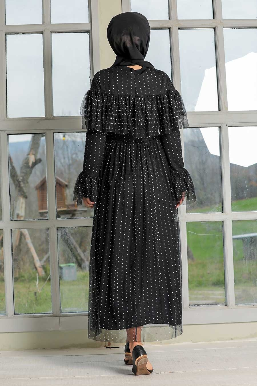 Tesettür Abiye Elbise - Pullu Siyah Tesettür Abiye Elbise 31793S