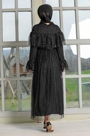 Tesettür Abiye Elbise - Pullu Siyah Tesettür Abiye Elbise 31793S - Thumbnail