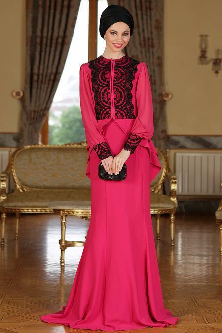 Fuşya Tesettür Abiye Elbise 9003F