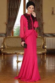 Fuşya Tesettür Abiye Elbise 9003F - Thumbnail