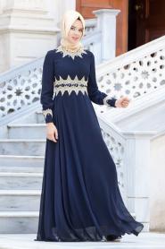 Lacivert Tesettür Abiye Elbise 2116L - Thumbnail