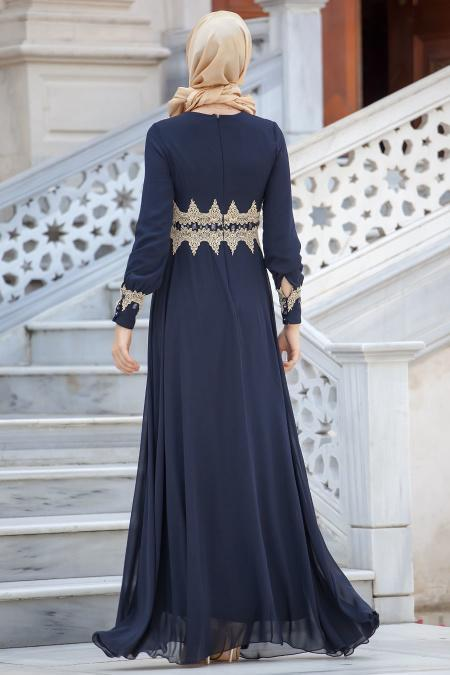 Lacivert Tesettür Abiye Elbise 2116L