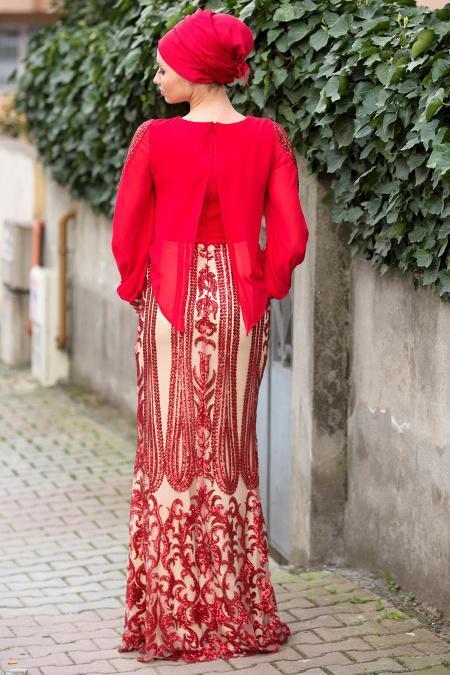 Kırmızı Tesettürlü Abiye Elbise 4086-01K