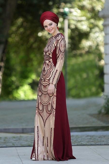 Bordo Tesettür Abiye Elbise 2188BR