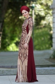 Bordo Tesettür Abiye Elbise 2188BR - Thumbnail