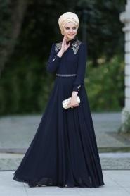 Lacivert Tesettür Abiye Elbise 2156L - Thumbnail