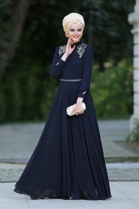 Lacivert Tesettür Abiye Elbise 2156L