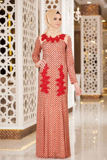 Kırmızı Tesettür Abiye Elbise 2224K