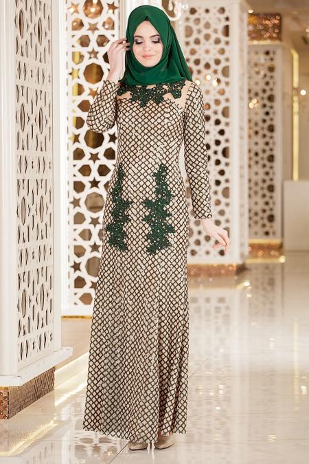 Yeşil Tesettür Abiye Elbise 2224Y