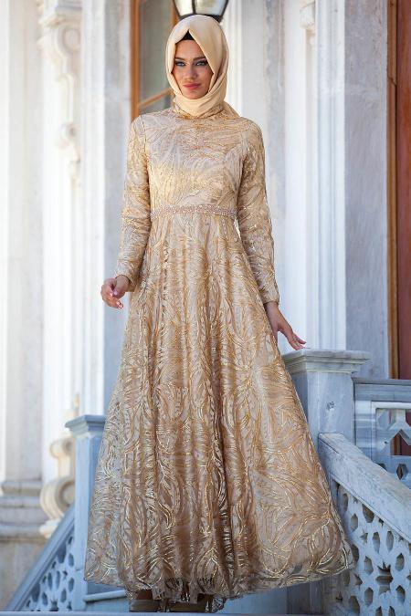 Gold Tesettür Abiye Elbise 2217GOLD