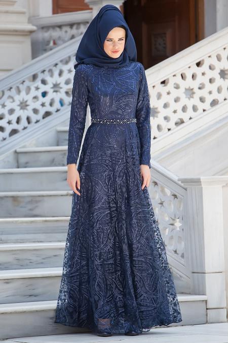 Lacivert TesettürAbiye Elbise 2217L