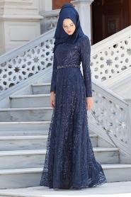 Lacivert TesettürAbiye Elbise 2217L - Thumbnail