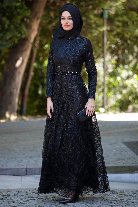 Siyah Tesettür Abiye Elbise 2217S