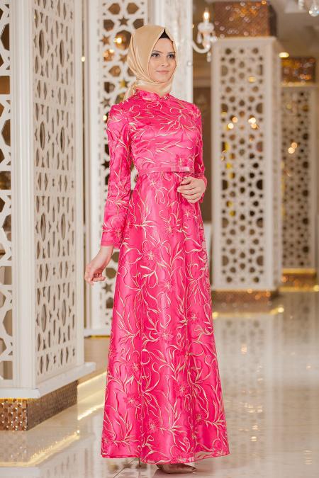 Tesettürlü Abiye Elbise 2218F