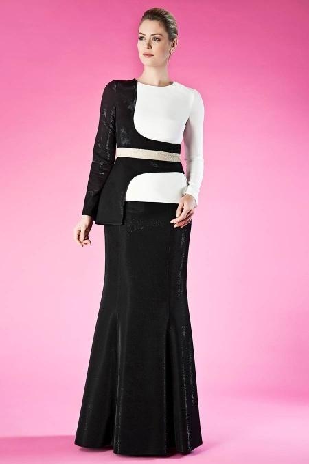 Siyah Tesettür Abiye Elbise 9020S