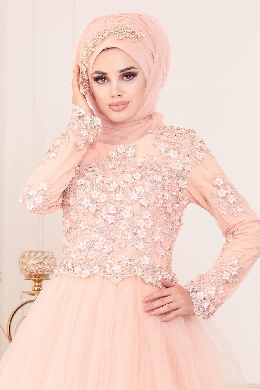 Tesettürlü Abiye Elbise - Aplikeli Prenses Model Somon Tesettür Abiye Elbise 4702SMN