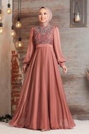 Tesettürlü Abiye Elbise - Balon Kol Bakır Tesettür Abiye Elbise 2155BKR - Thumbnail