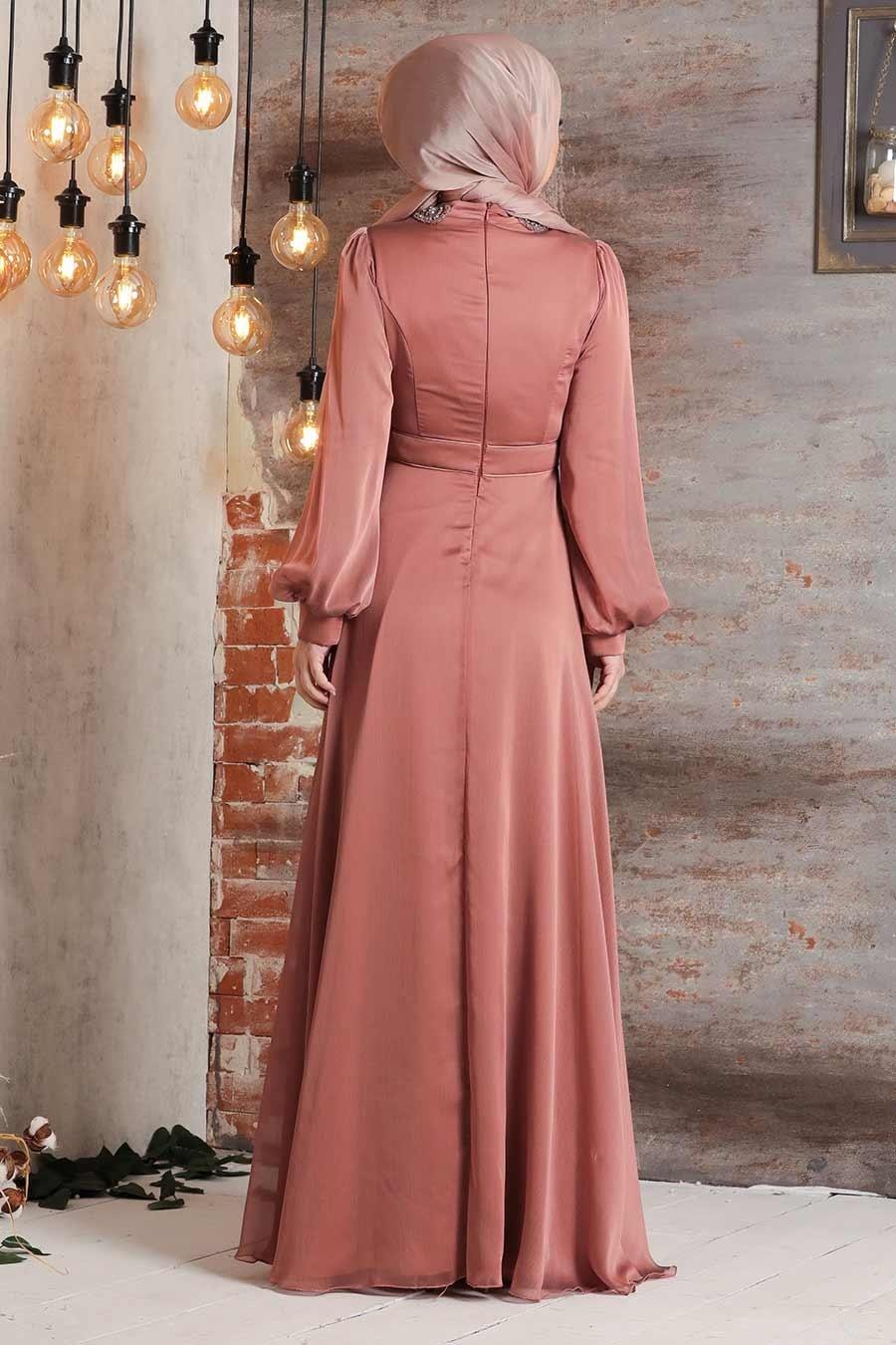 Tesettürlü Abiye Elbise - Balon Kol Bakır Tesettür Abiye Elbise 2155BKR
