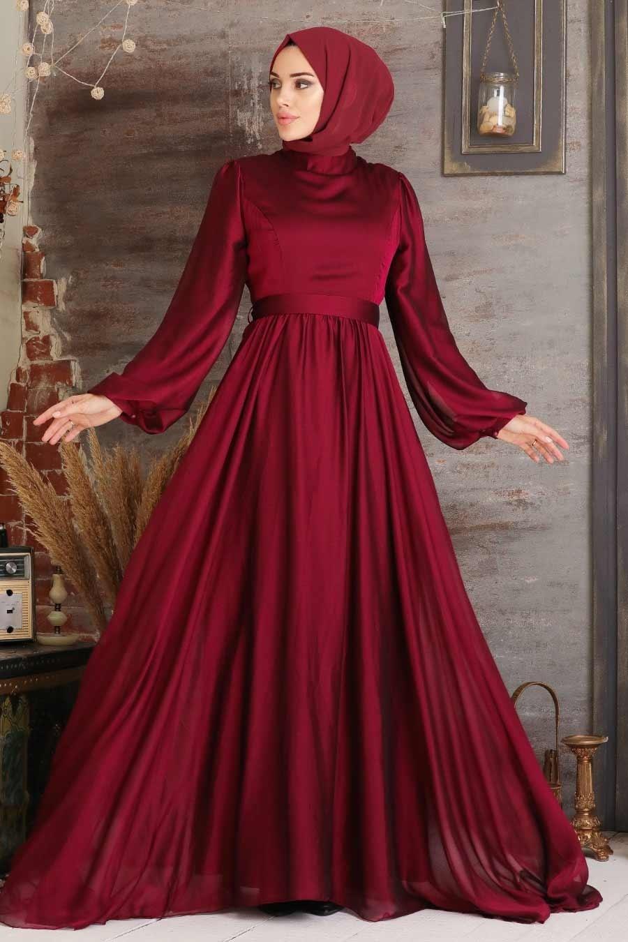 Tesettürlü Abiye Elbise - Balon Kol Bordo Tesettür Abiye Elbise 5215BR