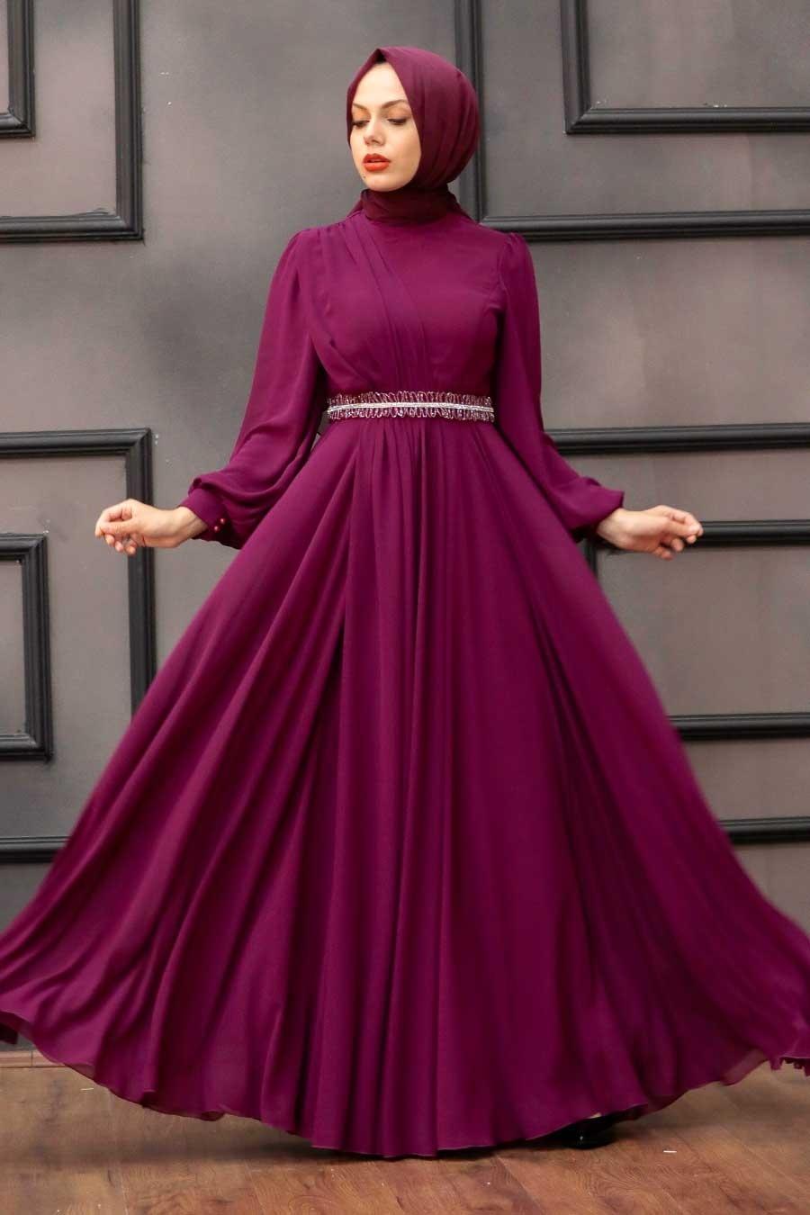 Tesettürlü Abiye Elbise - Balon Kol Fuşya Tesettür Abiye Elbise 22040F