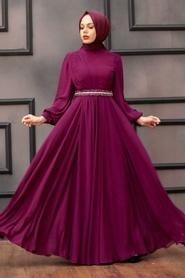 Tesettürlü Abiye Elbise - Balon Kol Fuşya Tesettür Abiye Elbise 22040F - Thumbnail
