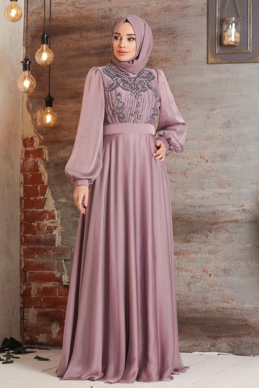 Tesettürlü Abiye Elbise - Balon Kol Gül Kurusu Tesettür Abiye Elbise 2155GK