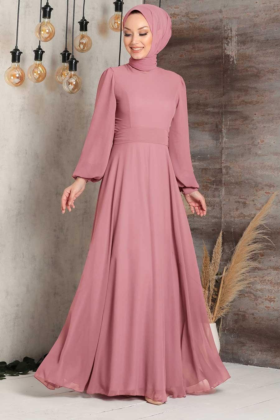 Tesettürlü Abiye Elbise - Balon Kol Gül Kurusu Tesettür Abiye Elbise 5470GK